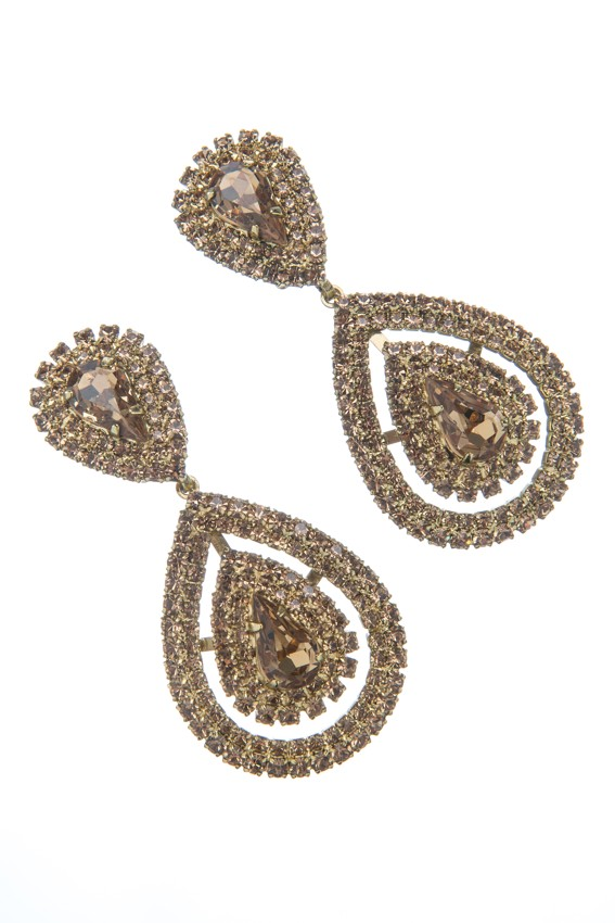 Beautiful strass earrings, silver, clip - OdvarkaBijoux