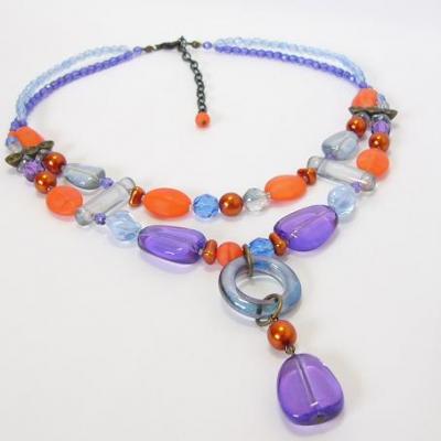 náhrdelník, fialovo-oranžový