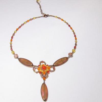 náhrdelník, hnědá&oranžová