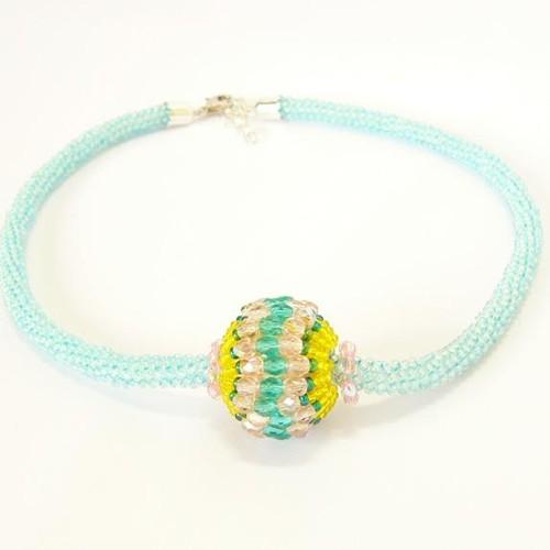 náhrdelník, aqua & fialová & žlutá
