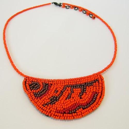 náhrdelník, oranžová & měděná