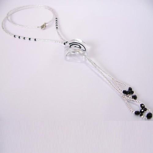 náhrdelník, krystal & černá