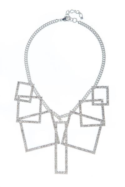 Výrazný geometrický náhrdelník, sříbro
