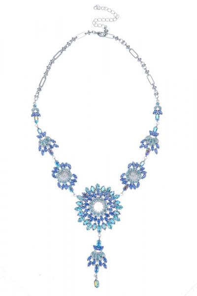 Luxusní náhrdelník z českých broušených kamenů, rhodium