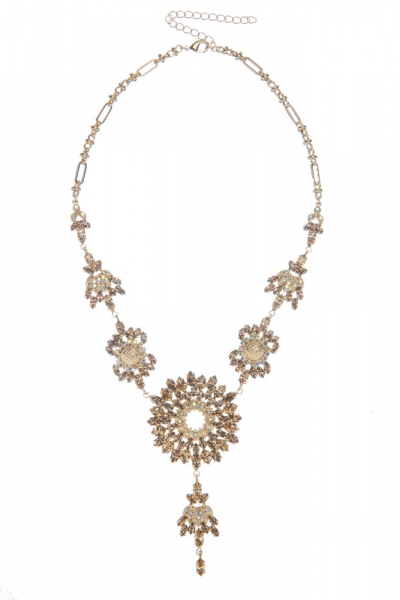 Luxusní náhrdelník z českých broušených kamenů, starozlato