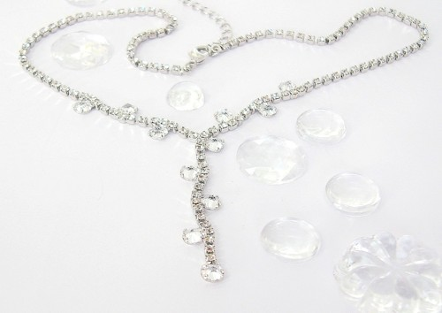 Náhrdelník, Swarovski, krystal / rhodium
