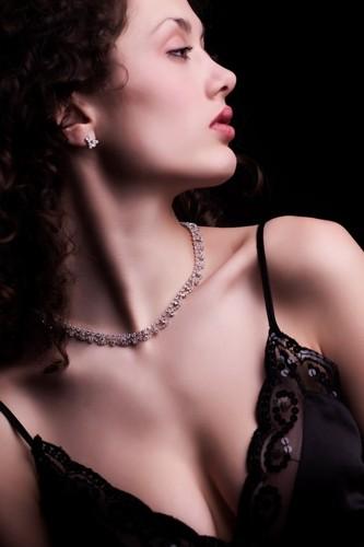 štrasový náhrdelník, krystal / stříbro