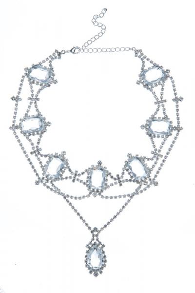 Štrasový náhrdelník s oktagony, stříbro