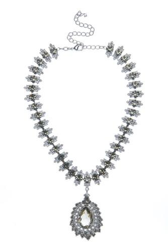 Elegantní štrasový náhrdelník s hruškou, black diamond/krystal