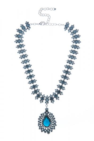 Elegantní štrasový náhrdelník s hruškou, montana