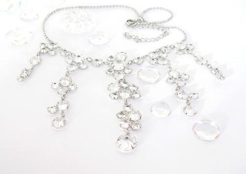 Náhrdelník křišťálový, Swarovski, krystal / rhodium