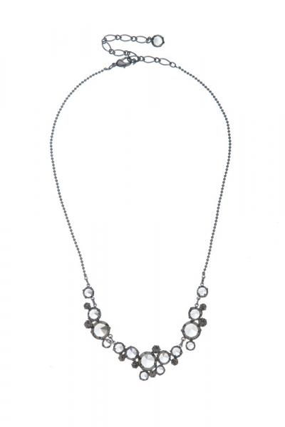 Elegant crystal necklace, paladium
