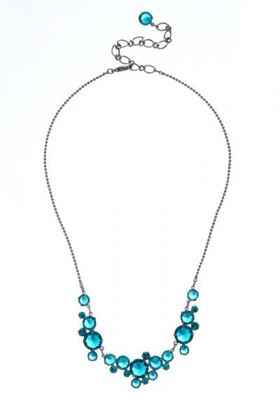 elegantní křišťálový náhrdelník, paladium