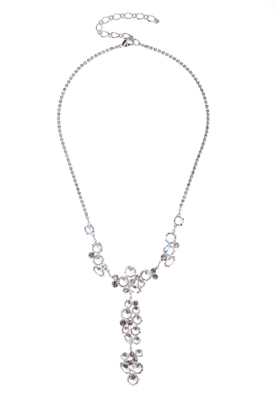 elegant necklace made of clear crystals, silver