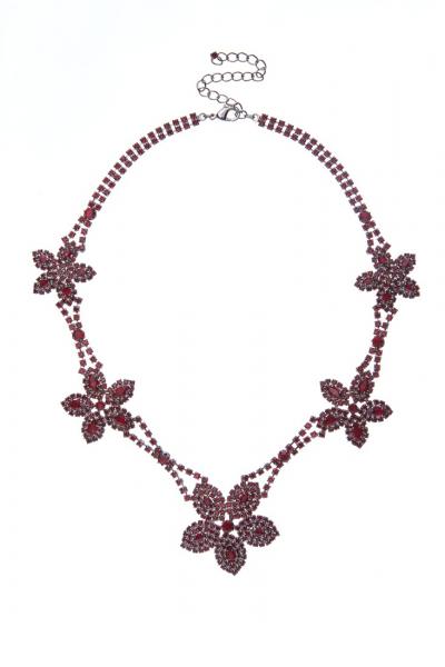 exklusivní štrasový náhrdelník, siam / paladium