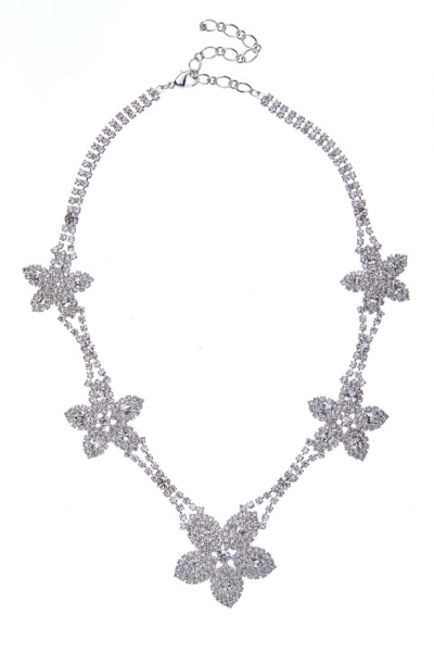 exklusivní štrasový náhrdelník, krystal / stříbro