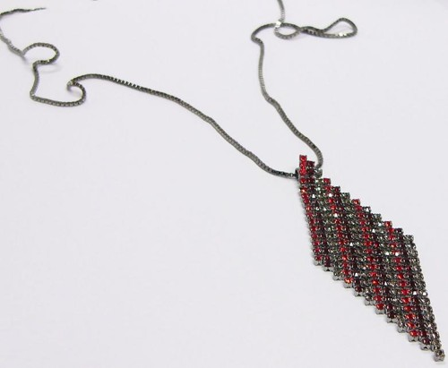 strass pendant on a chain, red and grey mix / ruthenium