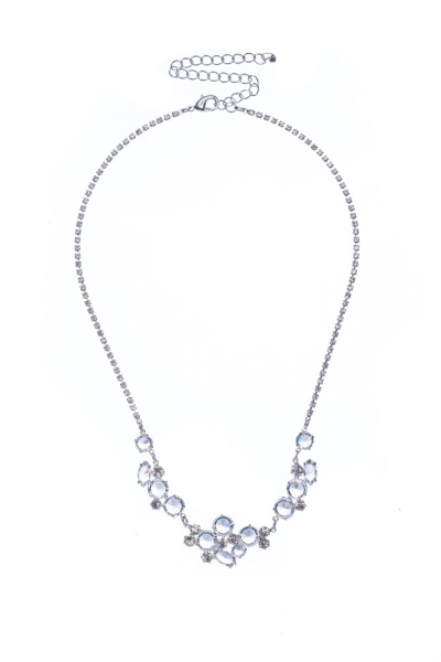 wedding necklace made of various transparent rhinestones, crystal / silver