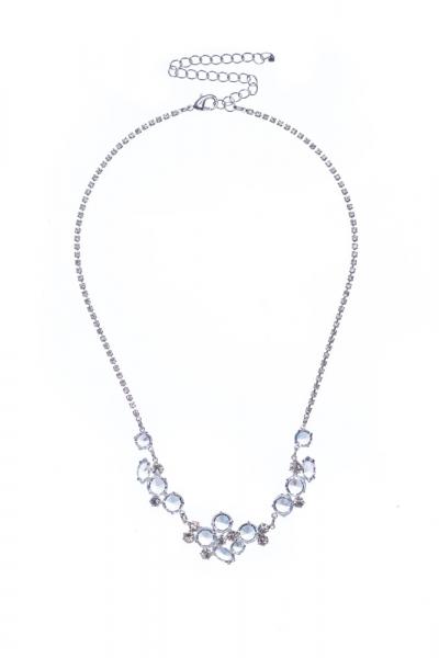svatební náhrdelník z čirých kamenů na štrasovém řetízku, krystal / stříbro
