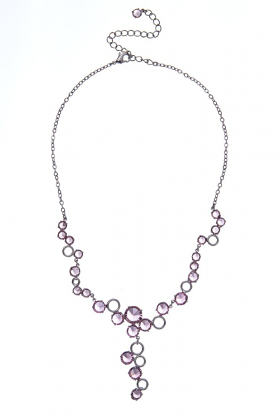 Necklace made from czech rhinestones, dark silver