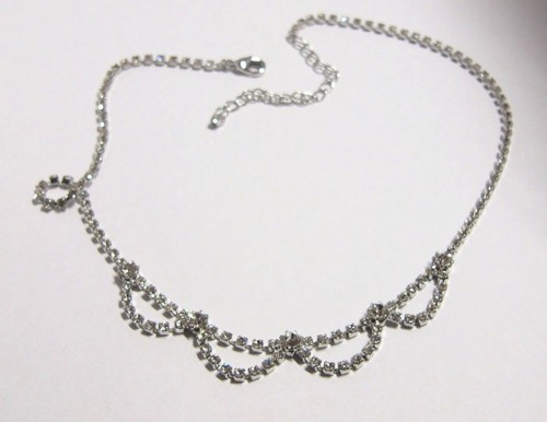 Strass necklace, rhodium