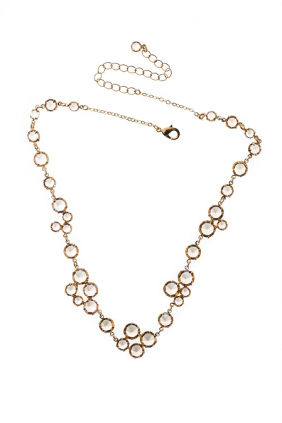 Beautiful necklace made from Czech rhinestones, acid gold