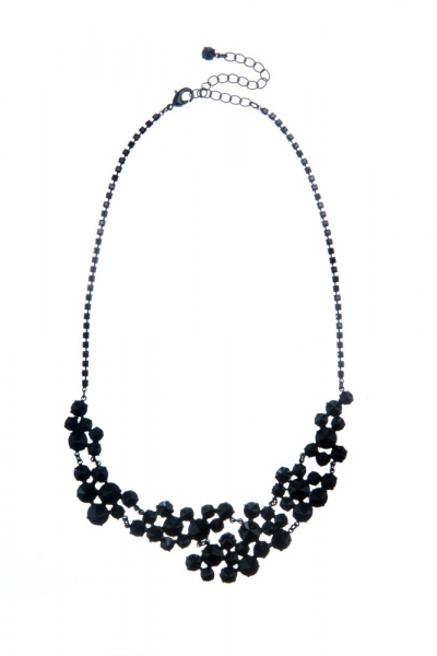 Rich necklace made from Czech rhinestones, black