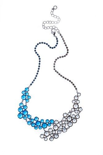 Rich necklace made from Czech rhinestones, rhodium
