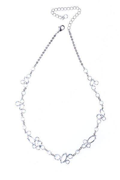 Elegant necklace made from Czech rhinestones, silver