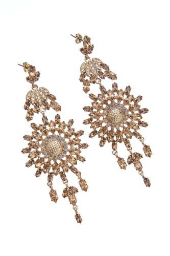 Exclusive strass earrings made from czech rhinestones, antique gold