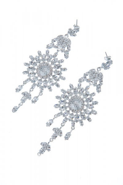 Exclusive strass earrings made from czech rhinestones, silver