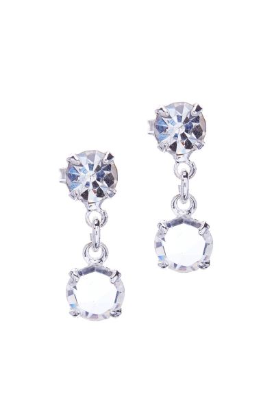 Small earrings made from czech rhinestones, rhodium