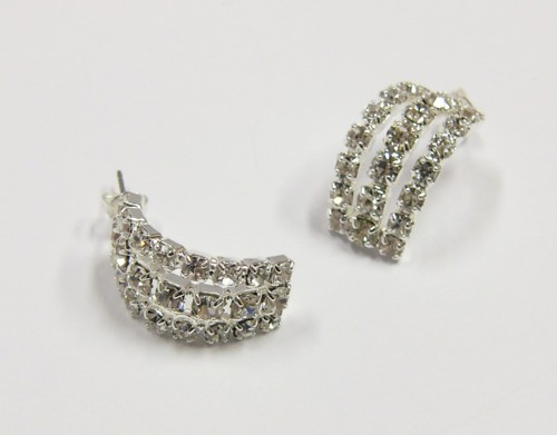 Earrings made from czech rhinestones, silver
