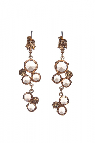 Elegant crystal earrings, gold