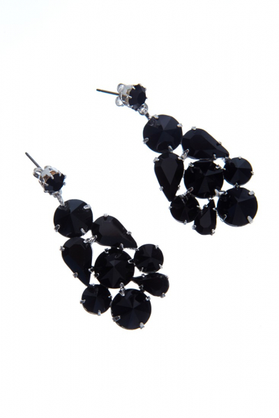 Black earrings made from czech rhinestones, silver