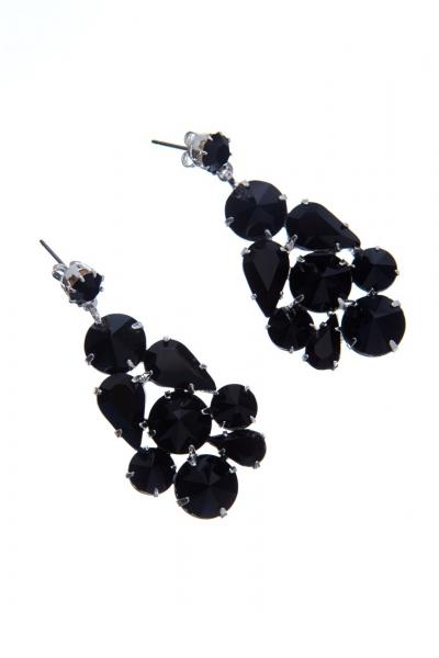Černé náušnice z českých broušených krystalů, stříbro
