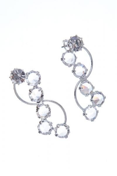 elegantní křišťálové naušnice, stříbro