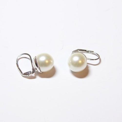 elegantní naušnice s perličkou, bílá / stříbrná galvanizace