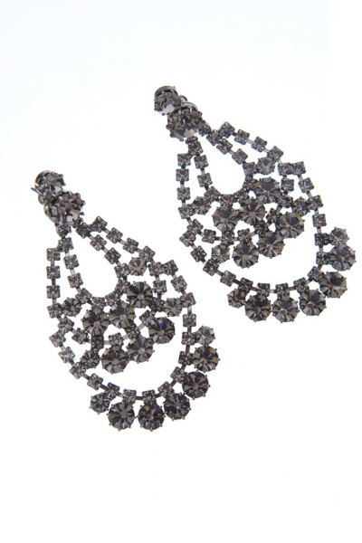 Elegant strass earrings, paladium