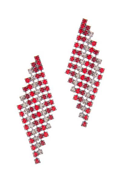 strass earrings, siam red mix with black diamond / ruthenium