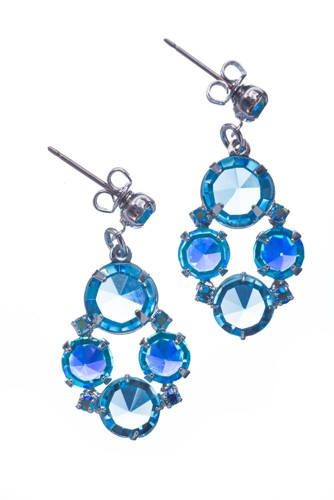 earrings Aqua mixed with Aqua AB, rhodium