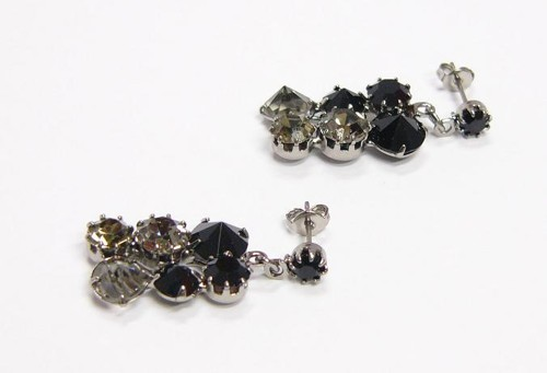 earrings Jet black with Black diamond, paladium, pin butterfly closing