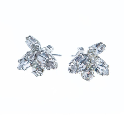 Small earrings made from czech rhinestones, silver
