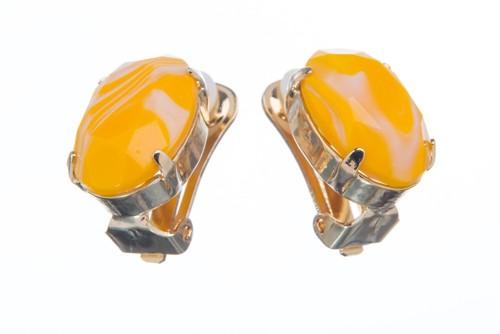 Náušnice se speciálním kamenem, bílo-žluté