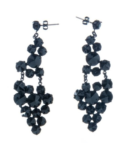 Exclusive earrings made from Czech rhinestones, pin