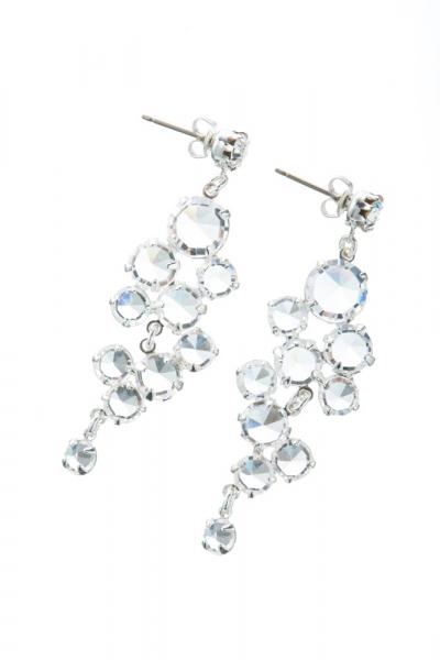 Rhinestones earrings, silver
