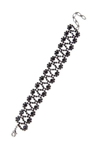 Elegantní štrasový náramek, černá