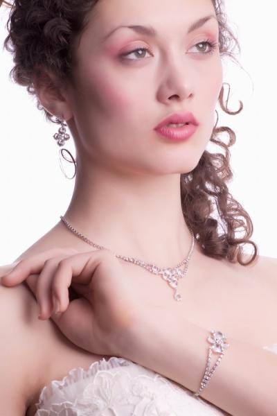 Crystal bracelet, silver