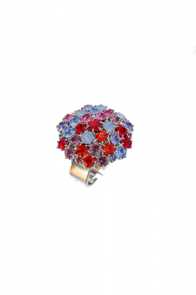 Beautiful ring made from czech rhinestones in spring colours