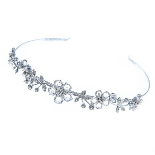 Svatební čelenka, Swarovski, krystal / rhodium